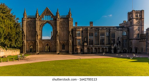 NEWSTEAD ABBEY, NOTTINGHAM, UK - Feb 8, 2020: A view towards the ruins of the Abbey and manor house at Newstead, Nottingham on a bright winters day