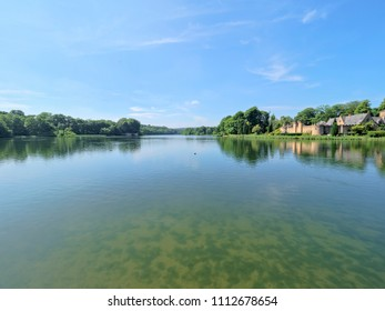 Newstead, England - June 10 2018: In Newstead Abbey grounds ducks swim on the rippled water of a lake. On the far bank is a building known as the Fort.