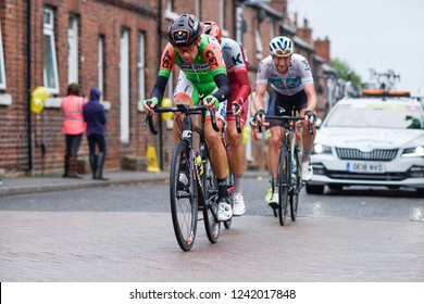 Newstead,Nottinghamshire,UK. September 08th 2018.The leading riders of the Tour-Of-Britain road cycling race pass through the village of Nottinghamshire on stage  7 of the week long race.