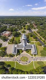 Newton City Hall aerial view in downtown Newton, Massachusetts, USA.