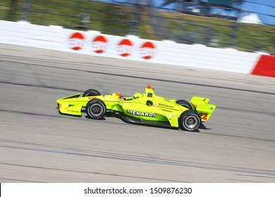 Newton Iowa, July 19, 2019:: Simon Pagenaud who drives the No. 22 car for Team Penske  on race track during the Iowa 300 Indycar race.