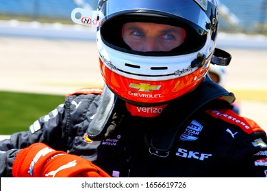 Newton Iowa, July 19, 2019: Will Power, #12 racing for Team Penske, close up face with helmet during qualifying for the Iowa 300 Indycar race.