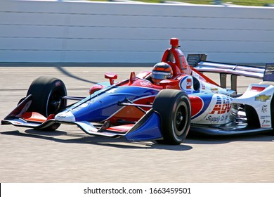 Newton Iowa, July 19, 2019: 4 Matheus Leist, Brazil, driver for A.J. Foyt Enterprises, on race track during practice session for the Iowa 300 Indycar race.