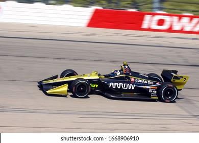 Newton Iowa, July 19, 2019: 7 Marcus Ericsson,  Sweden, Arrow McLaren SP,  on race track during practice session for the Iowa 300 Indycar race.