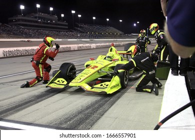 Newton Iowa, July 20, 2019: Night Race, Pit STop, 22 Simon Pagenaud, France, Team Penske,  during the Iowa 300 Indycar race.