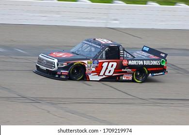 Newton, Iowa - June 15, 2019: Harrison Burton, NASCAR Gander Outdoors Truck Series M&M 300 race 2019