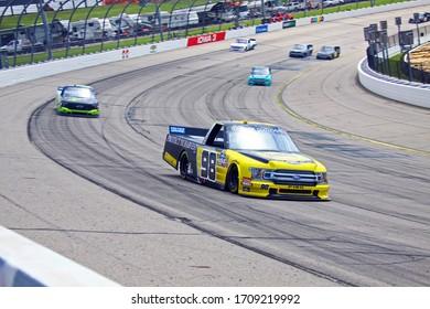 Newton, Iowa - June 15, 2019: Grant Enfinger, NASCAR Gander Outdoors Truck Series M&M 300 race 2019