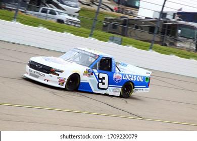 Newton, Iowa - June 15, 2019: Jordan Anderson, NASCAR Gander Outdoors Truck Series M&M 300 race 2019