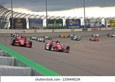 Newton, Iowa USA, 12 July 2014: Race start for the INDYCAR Iowa Corn 300 at Iowa Speedway.