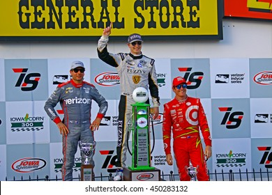 Newton, Iowa USA - July 10, 2016: Verizon IndyCar Series Iowa Corn Indy 300. Winners podium - Winner: Josef Newgarden #21 Ed Carpenter Racing, Fuzzy's Ultra Premium Vodka .