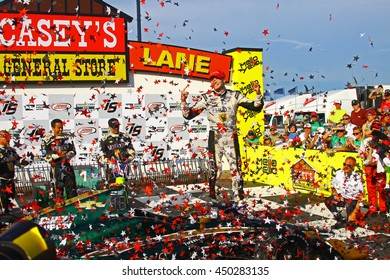 Newton, Iowa USA - July 10, 2016: Verizon IndyCar Series Iowa Corn Indy 300. Winner: Josef Newgarden #21 Ed Carpenter Racing, Fuzzy's Ultra Premium Vodka . First Indycar Win