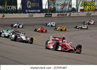 Newton Iowa, USA - July 12, 2014: Verizon Indycar Series Iowa Corn 300 on track racin action. 9 Scott Dixon Target Chip Ganassi Racing Chevrolet