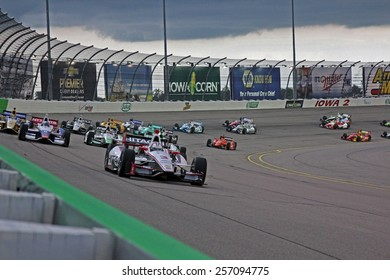 Newton Iowa, USA - July 12, 2014: Verizon Indycar Series Iowa Corn 300 on track racing action. 3 Helio Castroneves Hitachi Team Penske Chevrolet