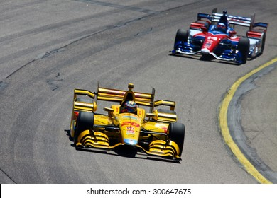 Newton, Iowa USA - July 17, 2015: Verizon IndyCar Series Iowa Corn Indy 300. 28 Ryan Hunter-Reay Fort Lauderdale, Fla. DHL Honda Andretti Autosport. Event winner.