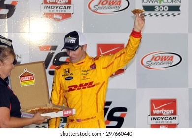 Newton, Iowa USA - July 18, 2015: Verizon IndyCar Series Iowa Corn Indy 300. Ryan Hunter-Reay wins at Iowa for the third time. Victory lane pizza.