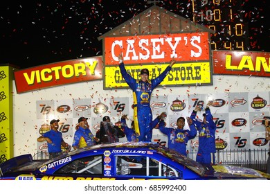 Newton, Iowa USA - July 28, 2017: Todd Gilliland celebrates in victory circle after winning the Caseys General Store 150, NASCAR K&N Pro Series race