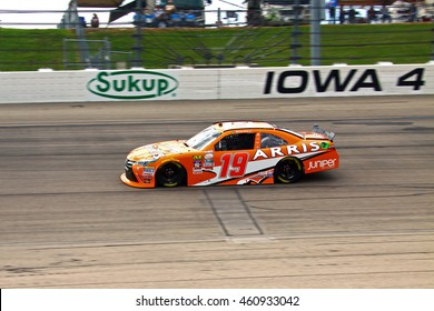 Newton, Iowa USA - July 30, 2016: NASCAR Xfinity racing series. Qualifying pole winner, U.S. Cellular 250. 19 Daniel Suarez Juniper Networks Toyota Camry. Joe Gibbs Racing