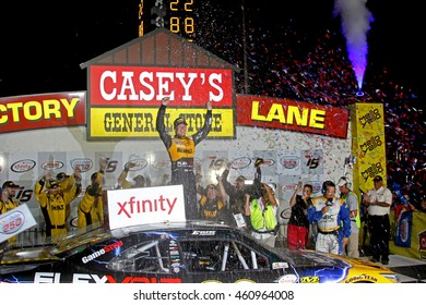 Newton, Iowa USA - July 30, 2016: NASCAR Xfinity racing series. U.S. Cellular 250, Iowa Speedway. Erik Jones DeWalt Toyota victory