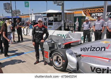 Newton, Iowa USA - July 8, 2017: Verizon IndyCar Series Iowa Corn Indy 300. Race driver Will Power, Verizon Penske Chevrolet, wins pole position after qualifying fastest. Power with his car pole label