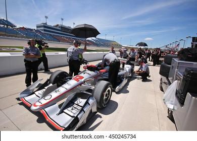 Newton, Iowa USA - July 9, 2016: Verizon IndyCar Series Iowa Corn Indy 300. Will Power gets ready to qualify for the race.