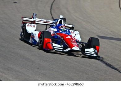 Newton, Iowa USA - July 9, 2016: Verizon IndyCar Series Iowa Corn Indy 300. Race drivers and teams practice before the race. Jack Hawksworth #41, A.J. Foyt Enterprises ABC, Supply