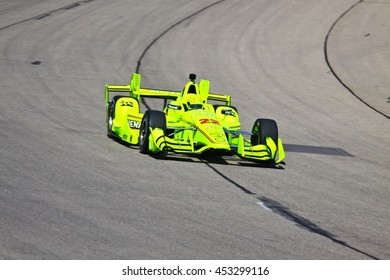 Newton, Iowa USA - July 9, 2016: Verizon IndyCar Series Iowa Corn Indy 300. Race drivers and teams practice before the race. Simon Pagenaud #22, Team Penske, Menards