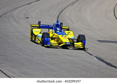 Newton, Iowa USA - July 9, 2016: Verizon IndyCar Series Iowa Corn Indy 300. Race drivers and teams practice before the race. Marco Andretti #27, Andretti Autosport, sponsored by: Snapple