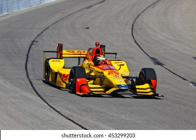 Newton, Iowa USA - July 9, 2016: Verizon IndyCar Series Iowa Corn Indy 300. Race drivers and teams practice before the race. Ryan Hunter-Reay #28, Andretti Autosport, DHL