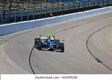 Newton, Iowa USA - July 9, 2016: Verizon IndyCar Series Iowa Corn Indy 300. Race drivers and teams practice before the race. Josef Newgarden #21, Ed Carpenter Racing, Fuzzy's Ultra Premium Vodka