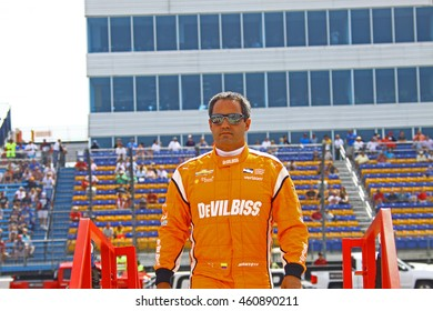 Newton, Iowa USA - July 9, 2016: Verizon IndyCar Series Iowa Corn Indy 300. Juan Pablo Montoya before the race