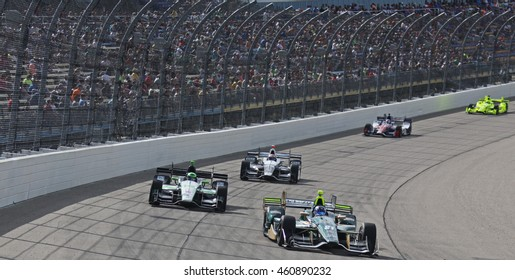 Newton, Iowa USA - July 9, 2016: Verizon IndyCar Series Iowa Corn Indy 300. Josef Newgarden race winner leads.
