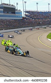 Newton, Iowa USA - July 9, 2016: Verizon IndyCar Series Iowa Corn Indy 300. Josef Newgarden eventual race winner leads.