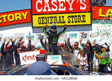 Newton Iowa, USA - June 18, 2016: Sam Hornish Jr. winner celebrates in victory circle. NASCAR Xfinity Series, American Ethanol E15 250 race. Iowa Speedway.