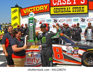 Newton Iowa, USA - June 18, 2016: Sam Hornish Jr. winner celebrates, pizza from Casey's. NASCAR Xfinity Series, American Ethanol E15 250 race. Iowa Speedway.
