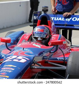Newton Iowa, USA - June 22, 2013: Indycar Iowa Corn 250, Iowa Speedway, Practice and Qualifying sessions. Marco Andretti Nazareth, Pa. RC Cola, Awaits his turn to go on track.