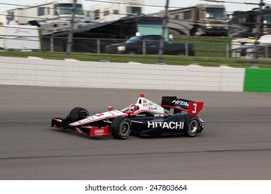 Newton Iowa, USA - June 22, 2013: Indycar Iowa Corn 250, Iowa Speedway, Practice and Qualifying sessions. Helio Castroneves, Sao Paulo Brazil, Hitachi Team Penske