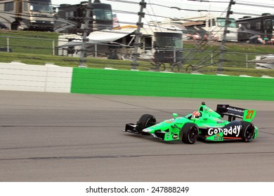 Newton Iowa, USA - June 22, 2013: Indycar Iowa Corn 250, Iowa Speedway, Practice and Qualifying sessions. James Hinchcliffe Toronto GoDaddy