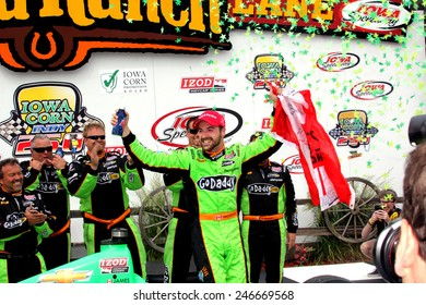 Newton Iowa, USA - June 23, 2013: Indycar Iowa Corn 250 race Iowa Speedway, celebration, Victory Circle. Race winner James Hinchcliffe, Canada, GoDaddy, Chevrolet, Andretti Autosport