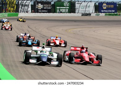 Newton Iowa, USA - June 23, 2013: Indycar racing Iowa Corn 250 race Iowa Speedway Simona de Silvestro - Scott Dixon