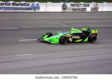 Newton Iowa, USA - June 25, 2011: Indycar Iowa Corn 250, Danica Patrick - USA, GoDaddy, Andretti, Indy racing action motorsport event.