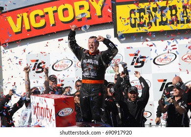 Newton Iowa, USA - June 29, 2017: NASCAR Xfinity Series, American Ethanol E15 250 race. Presented by American Ethanol Iowa Speedway. Ryan Preece, Toyota. Victory circle celebration at Iowa Speedway.