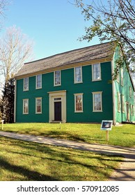 Newton, Massachusetts - November 25, 2015:  1734 historic colonial saltbox Durant-Kenrick House and Museum on Centre Street