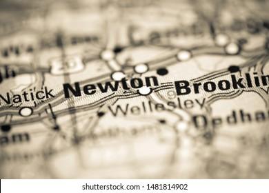 Newton. Massachusetts. USA on a geography map