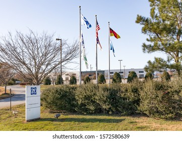 NEWTON, NC, USA-24 NOV 2019: Manufacturing building and street sign for ZF Chassis Components, LLC.