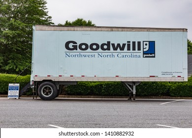 NEWTON, NC, USA--5/22/19: A Goodwill Industries trailer serving as a donation point for used and usable goods.