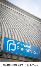 NEWTON, NEW JERSEY - 31 JAN 2016: Blue and white sign above the entrance for the Planned Parenthood clinic in Newton, NJ on January 31, 2016.