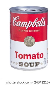 Newton, NJ - January 30, 2015: Can of Campbells Condensed Tomato Soup isolated on white