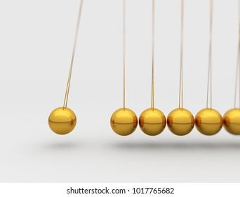 Newtons cradle balancing spheres. 3d render