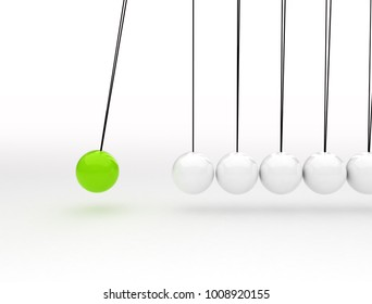 Newton's cradle physics concept background for cause and effect. Green ball in motion 3d render.