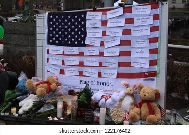 NEWTOWN, CONNECTICUT., USA-DEC 16: Sandy Hook Elementary School shooting. Flag of Honor, December 16, 2012 in Newtown, Connecticut, USA